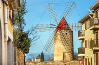 Algadia, Mallorca, Spain, December 17, 2018 An old windmill in the city