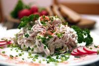 Sausage salad with mayonnaise