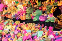 Handmade toy animals at the medieval market of Valencia, Spain