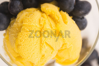 Mango Ice Cream with blueberries and mint