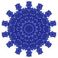 Blue Ornamental Line Pattern Round Texture. Oriental Geometric Ornament