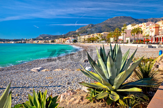 Town of Menton mediterranean beach and waterfront view