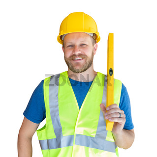 Caucasian Male Contractor With Hard Hat, Level and Safety Vest Isolated