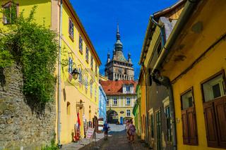 Sighisoara, Romania, May 13, 2019: Dracula's house and the clock tower , historic centre of Sighisoara, Transylvania region in Romania.
