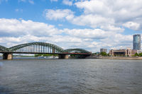 Hohenzollern Bridge and Triangle tower in Cologne