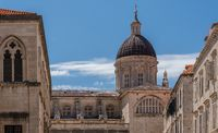 Details of roof of cathedral church in Dubrovnik old town