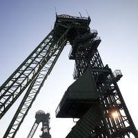 shaft tower of the disused coal mine Westfalen, Ahlen, North Rhine-Westphalia, Germany, Europe