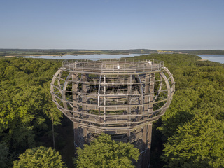 Baumwipfelpfad or treetop walkway and the Eagle Nest view Tower on the island of Ruegen