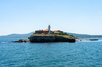 Burgas Bay of the Black Sea and the island of St. Anastasia.