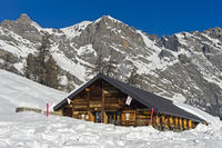 Mountain inn Loutze in winter, Ovronnaz, Valais, Switzerland
