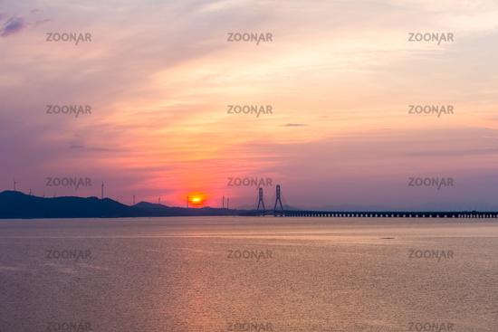 beautiful poyang lake second bridge in sunrise