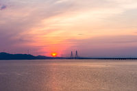 beautiful poyang lake second bridge in sunrise