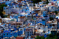 cityscape of blue town chefchaouen, morocco