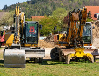 Construction site with excavators