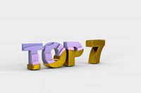 Top seven on white background (done in 3d)