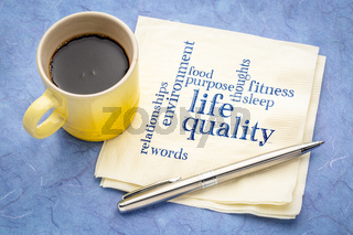 life quality concept - napkin word cloud
