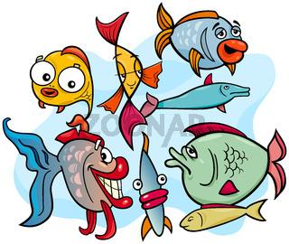 fish animal cartoon characters group