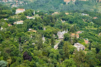 Bird's-eye view on Sintra estates as seen from the Sintra Mountains. Sintra. Portugal