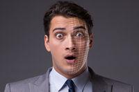 Face recognition concept with businessman portrait