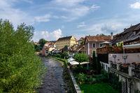 cesky krumlov town and river
