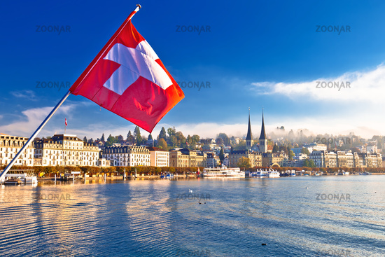 Lucern lake and town waterfront morning view