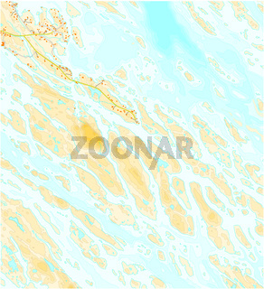 Imaginary topographic map of territory with rivers, lakes and roads