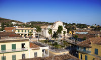 Panoramic aerial view on old houses of the city Trinidad, Cuba