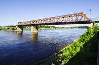 Bridge across River Elbe, Schönebeck (Elbe), Saxony-Anhalt, Germany