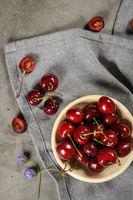 Red fresh cherries