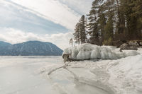 View of beautiful drawings on ice from cracks on the surface of lake Teletskoye in winter, Russia
