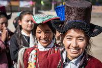 Smiling Indian women on festival in Ladakh