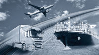 Transport of goods by truck, ship and plane