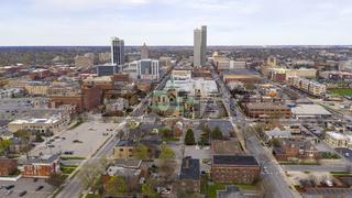 Long Flat Urban City Syline in Fort Wayne Indiana