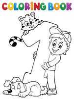 Coloring book boy with number one