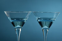 Close up photo of martini glasses with coctail alcoholic drink