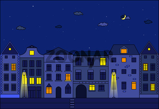 City at night vector illustration. Old street in european city.