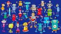 robots cartoon characters huge group