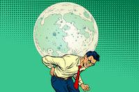 Man carries big moon