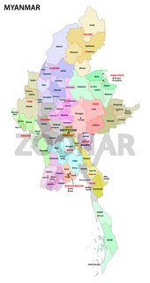 myanmar administrative map with regions and districts