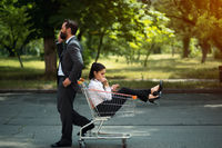 business woman sitting in cart