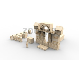 3d rendering of stacked wooden building blocks isolated on white background