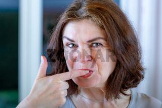 Woman sucks off fingers