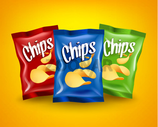 Set of red, blue and green chips packages with yellow crispy snacks, advertising concept