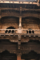 Structural wood work and heavily carved wooden members Palashikar wada, Palashi, Ahmednagar