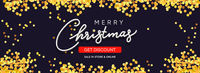 Christmas sale horizontal background with golden glitter. Christmas banner, poster, header for web site. Black Xmas backdrop. Merry Christmas and Happy New Year handwritten text calligraphy.