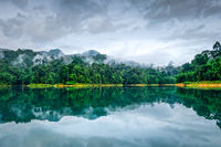 Misty morning on Cheow Lan Lake, Khao Sok National Park, Thailand