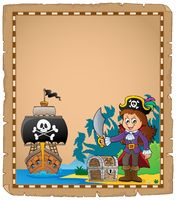 Pirate girl on coast theme parchment 1