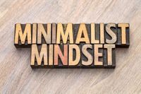 minimalist mindset word abstract in vintage wood type