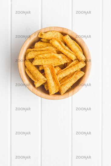 Rolled tortilla chips.