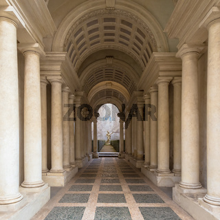 Luxury palace with marble columns in Rome